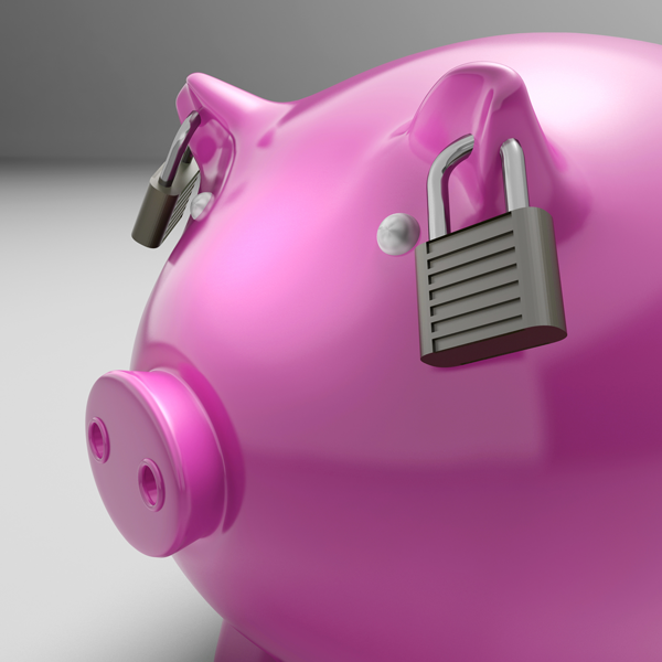 piggybank with locked ears shows savings safety MkG0BQDd